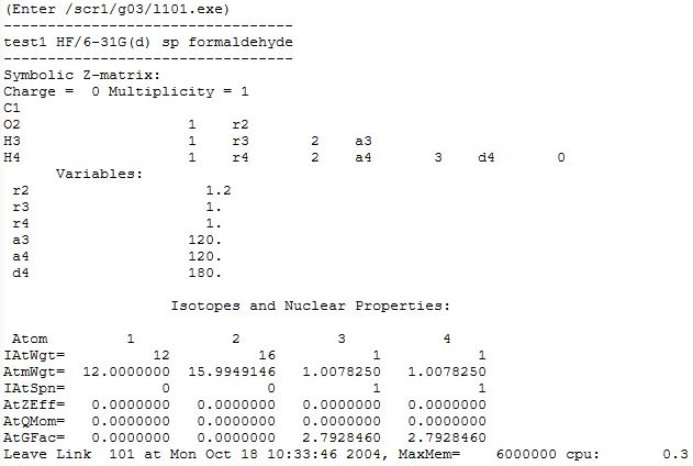 A Typical Gaussian Output File - Anorganische Chemie